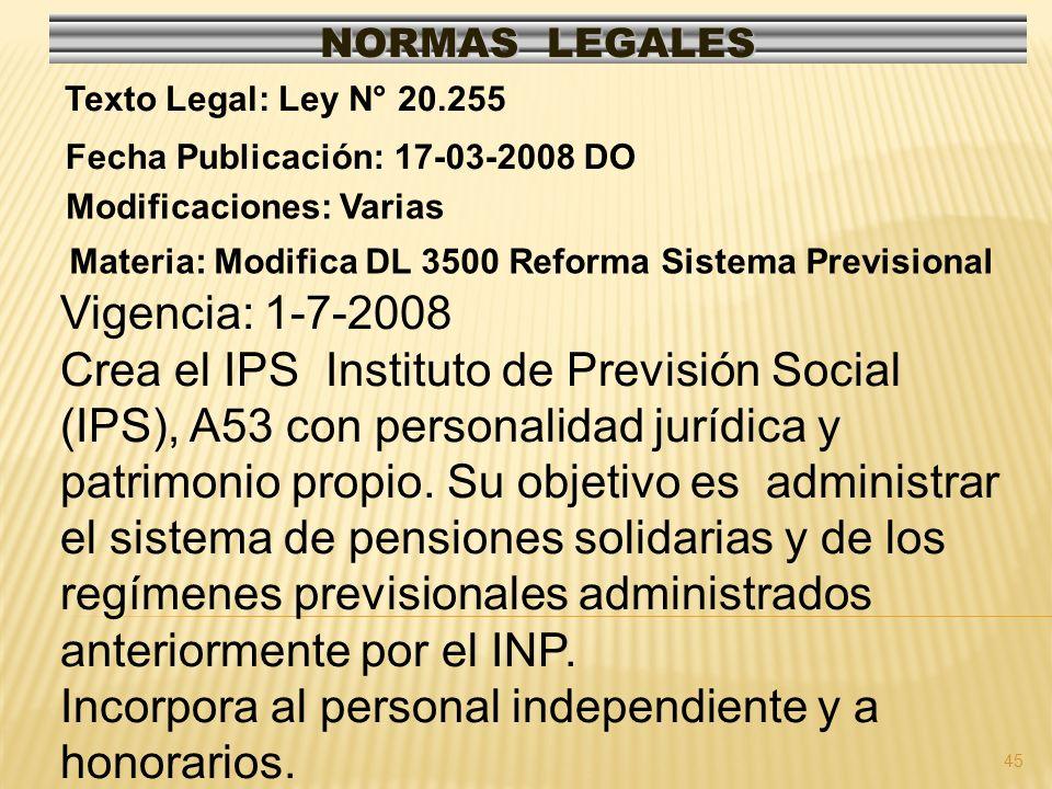 45 NORMAS LEGALES Modificaciones: Varias Fecha Publicación: 17-03-2008 DO Texto Legal: Ley N° 20.255 Materia: Modifica DL 3500 Reforma Sistema Previsi