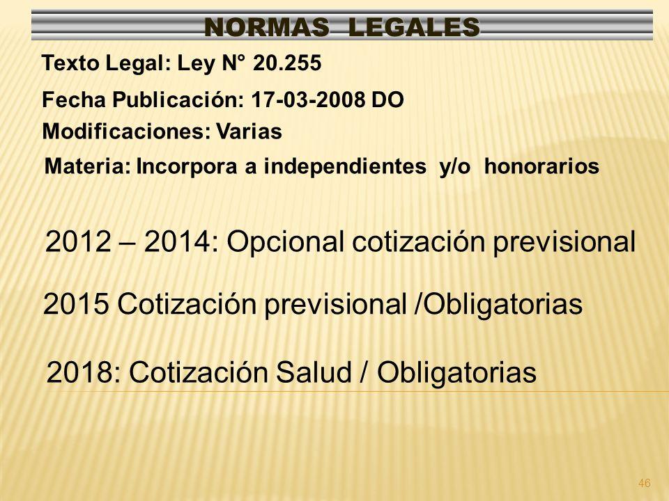 46 NORMAS LEGALES Modificaciones: Varias Fecha Publicación: 17-03-2008 DO Texto Legal: Ley N° 20.255 Materia: Incorpora a independientes y/o honorarios 2012 – 2014: Opcional cotización previsional 2015 Cotización previsional /Obligatorias 2018: Cotización Salud / Obligatorias