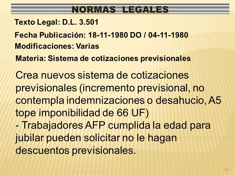 49 NORMAS LEGALES Modificaciones: Varias Fecha Publicación: 18-11-1980 DO / 04-11-1980 Texto Legal: D.L. 3.501 Materia: Sistema de cotizaciones previs