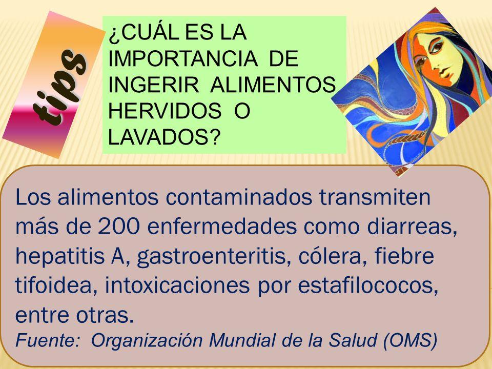 50 ¿CUÁL ES LA IMPORTANCIA DE INGERIR ALIMENTOS HERVIDOS O LAVADOS? Los alimentos contaminados transmiten más de 200 enfermedades como diarreas, hepat