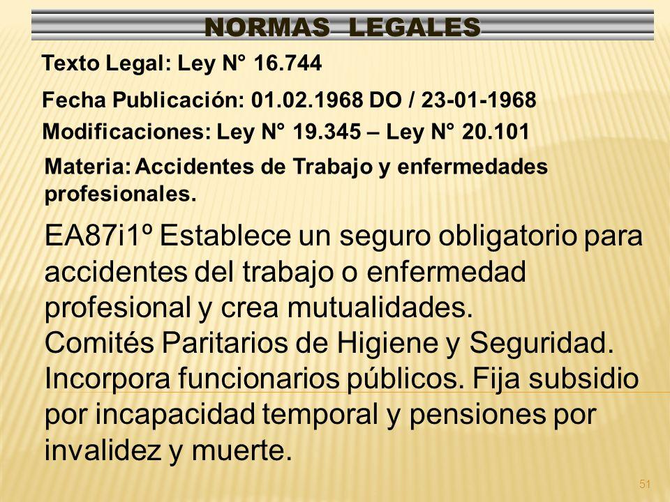 51 NORMAS LEGALES Modificaciones: Ley N° 19.345 – Ley N° 20.101 Fecha Publicación: 01.02.1968 DO / 23-01-1968 Texto Legal: Ley N° 16.744 Materia: Accidentes de Trabajo y enfermedades profesionales.