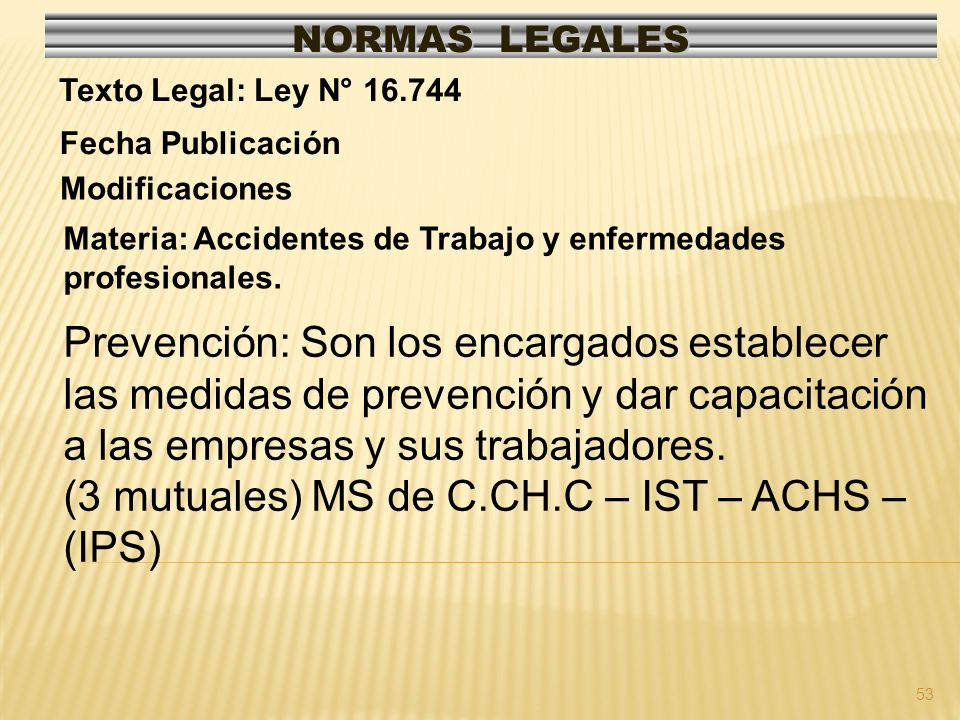 54 NORMAS LEGALES Modificaciones Fecha Publicación: 25-03-1982 DO / 27-08-1981 Texto Legal: D.F.L.