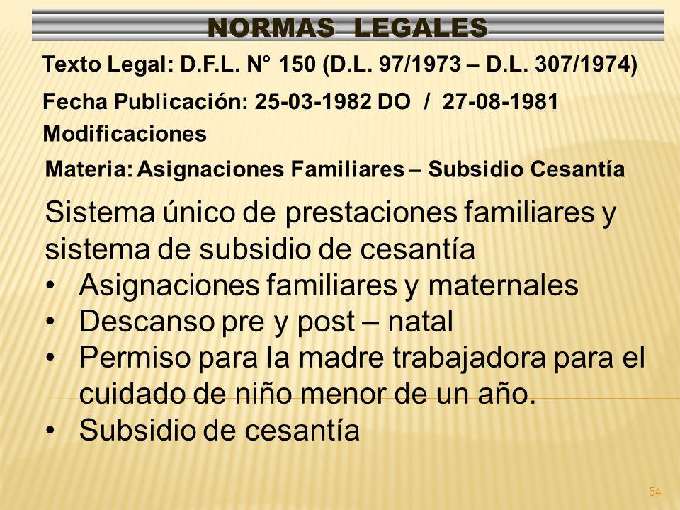 54 NORMAS LEGALES Modificaciones Fecha Publicación: 25-03-1982 DO / 27-08-1981 Texto Legal: D.F.L. N° 150 (D.L. 97/1973 – D.L. 307/1974) Materia: Asig