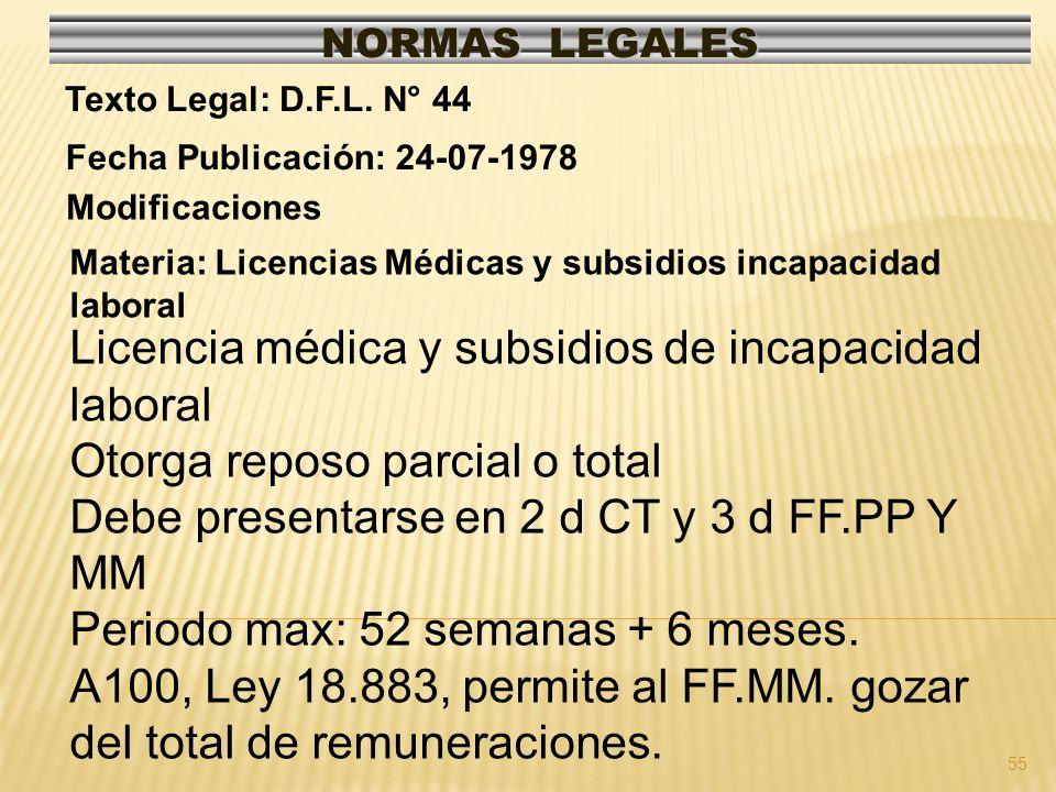 55 NORMAS LEGALES Modificaciones Fecha Publicación: 24-07-1978 Texto Legal: D.F.L. N° 44 Materia: Licencias Médicas y subsidios incapacidad laboral Li