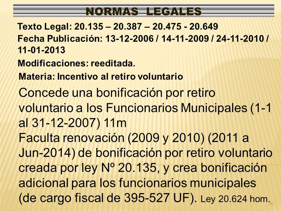 56 NORMAS LEGALES Modificaciones: reeditada. Fecha Publicación: 13-12-2006 / 14-11-2009 / 24-11-2010 / 11-01-2013 Texto Legal: 20.135 – 20.387 – 20.47
