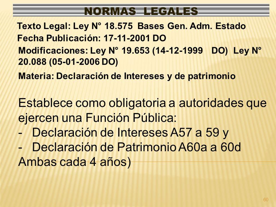 60 NORMAS LEGALES Modificaciones: Ley N° 19.653 (14-12-1999 DO) Ley N° 20.088 (05-01-2006 DO) Fecha Publicación: 17-11-2001 DO Texto Legal: Ley N° 18.575 Bases Gen.