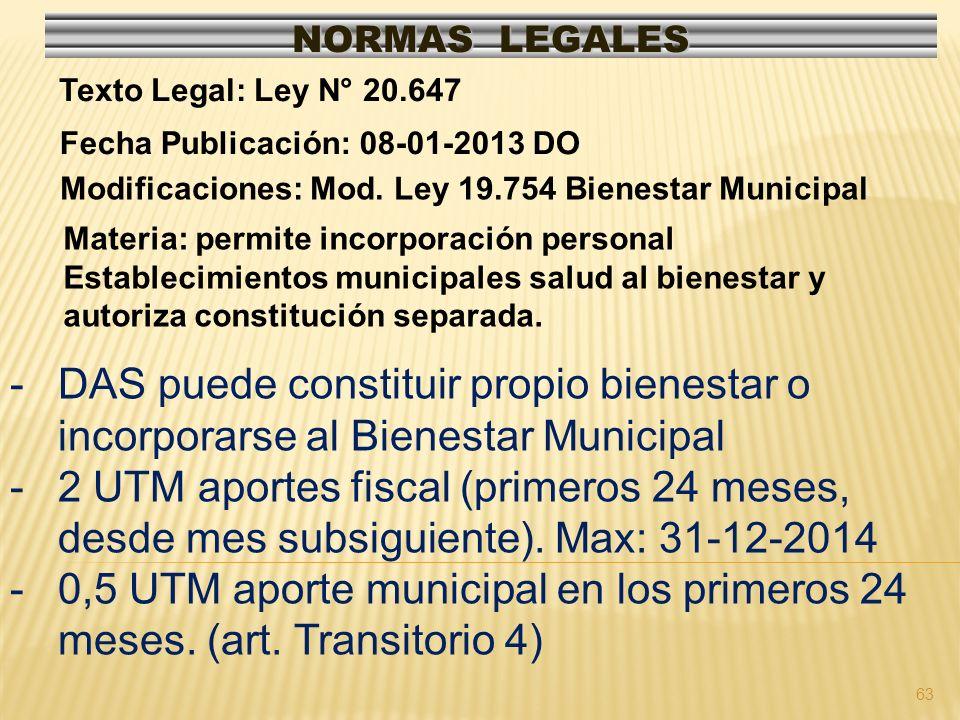 63 NORMAS LEGALES Modificaciones: Mod. Ley 19.754 Bienestar Municipal Fecha Publicación: 08-01-2013 DO Texto Legal: Ley N° 20.647 Materia: permite inc