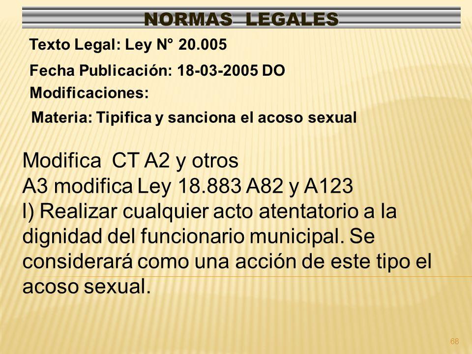 68 NORMAS LEGALES Modificaciones: Fecha Publicación: 18-03-2005 DO Texto Legal: Ley N° 20.005 Materia: Tipifica y sanciona el acoso sexual Modifica CT