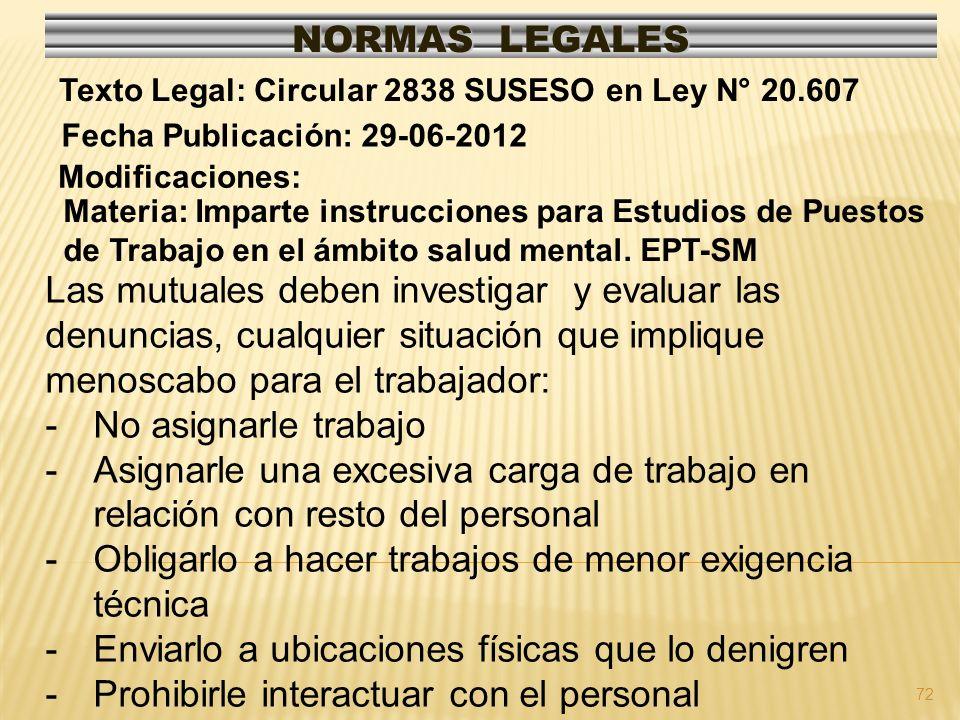 72 NORMAS LEGALES Modificaciones: Fecha Publicación: 29-06-2012 Texto Legal: Circular 2838 SUSESO en Ley N° 20.607 Materia: Imparte instrucciones para Estudios de Puestos de Trabajo en el ámbito salud mental.
