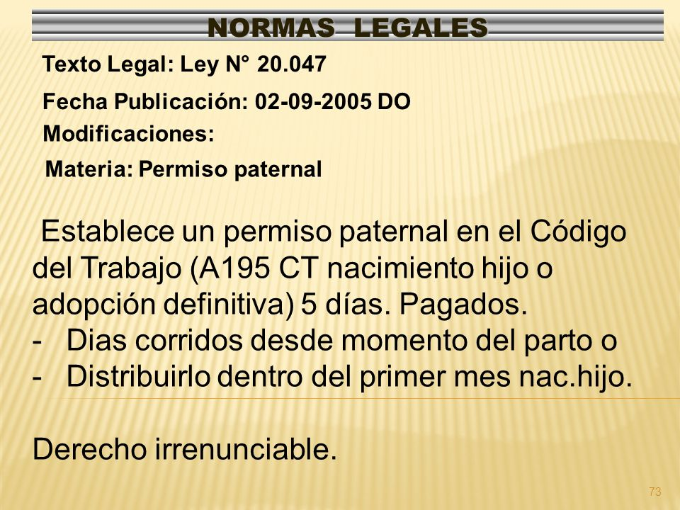 74 NORMAS LEGALES Modificaciones: Fecha Publicación: 29-04-2000 DO Texto Legal: Dec.