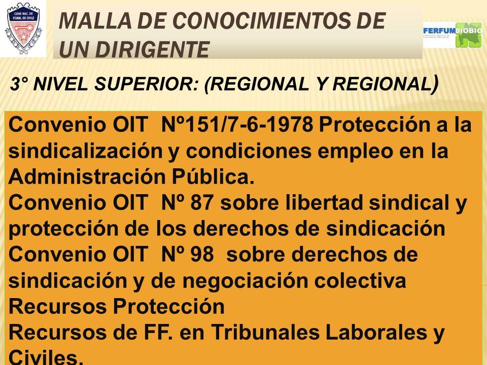 MALLA DE CONOCIMIENTOS DE UN DIRIGENTE 8 3° NIVEL SUPERIOR: (REGIONAL Y REGIONAL ) Convenio OIT Nº151/7-6-1978 Protección a la sindicalización y condi