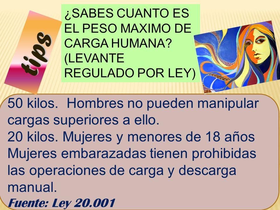 81 ¿SABES CUANTO ES EL PESO MAXIMO DE CARGA HUMANA.