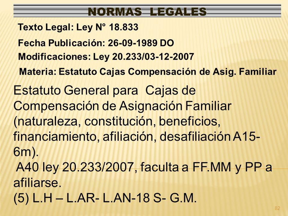 82 NORMAS LEGALES Modificaciones: Ley 20.233/03-12-2007 Fecha Publicación: 26-09-1989 DO Texto Legal: Ley N° 18.833 Materia: Estatuto Cajas Compensaci