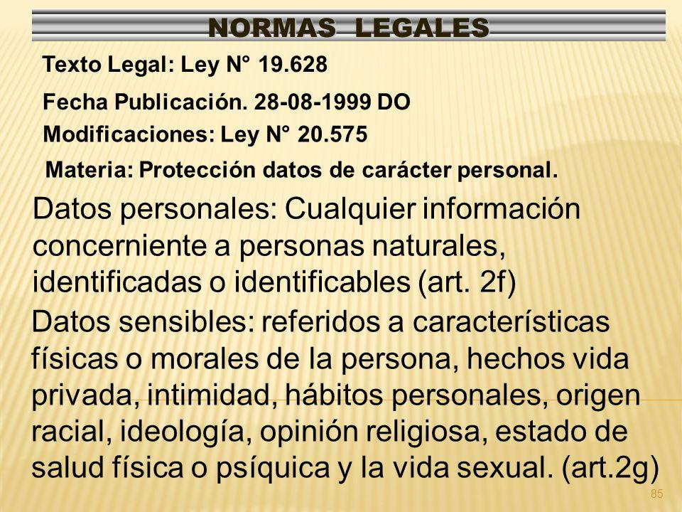 85 NORMAS LEGALES Modificaciones: Ley N° 20.575 Fecha Publicación. 28-08-1999 DO Texto Legal: Ley N° 19.628 Materia: Protección datos de carácter pers