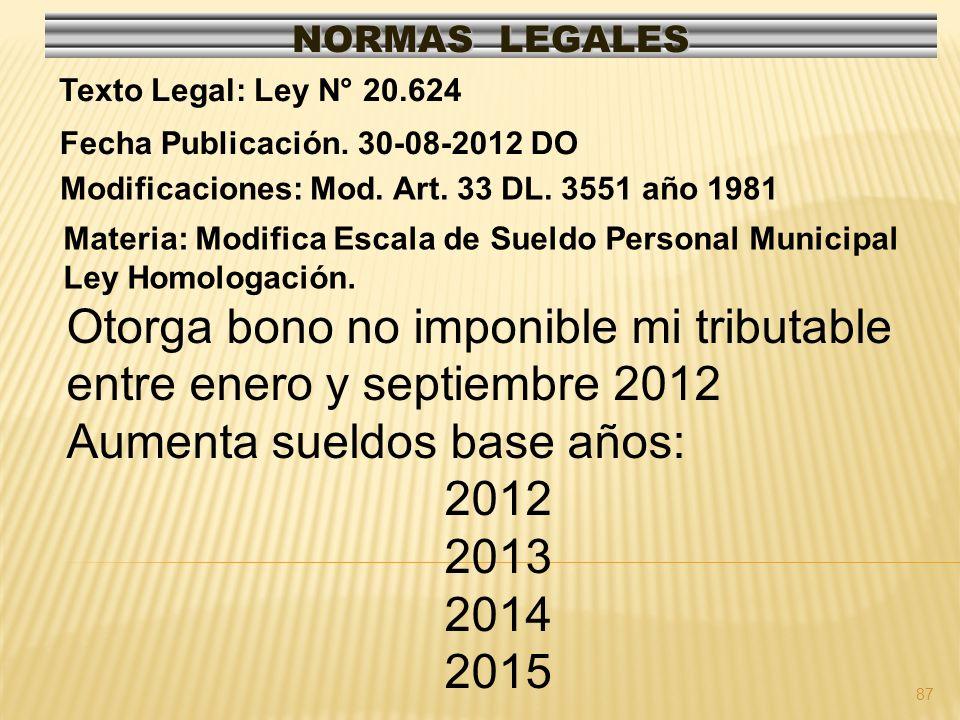 87 NORMAS LEGALES Modificaciones: Mod. Art. 33 DL. 3551 año 1981 Fecha Publicación. 30-08-2012 DO Texto Legal: Ley N° 20.624 Materia: Modifica Escala
