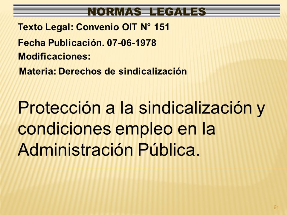 91 NORMAS LEGALES Modificaciones: Fecha Publicación. 07-06-1978 Texto Legal: Convenio OIT N° 151 Materia: Derechos de sindicalización Protección a la