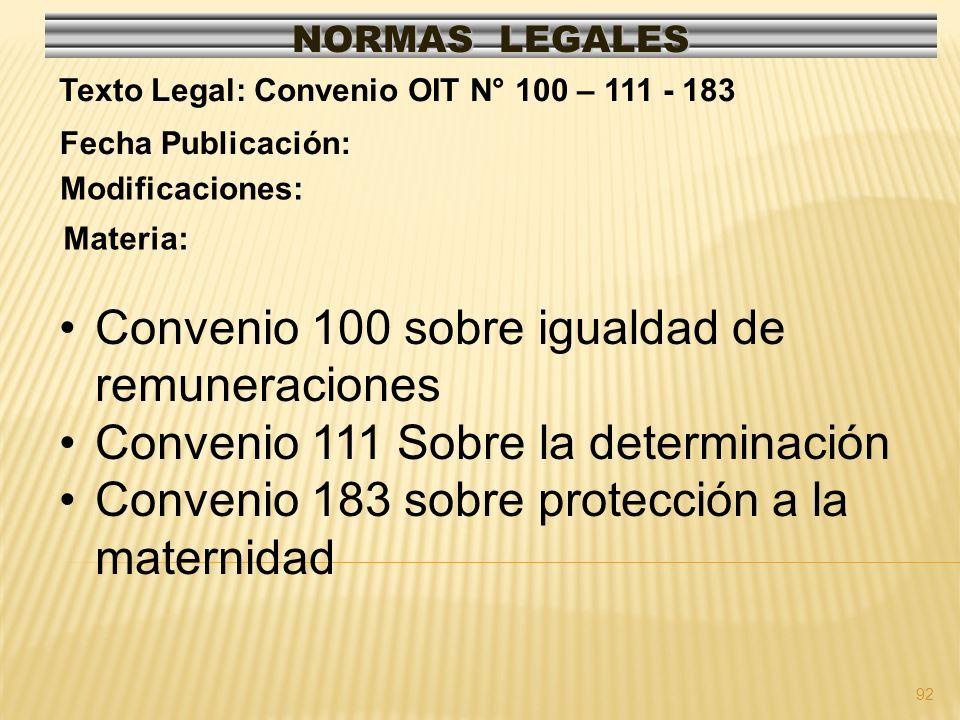92 NORMAS LEGALES Modificaciones: Fecha Publicación: Texto Legal: Convenio OIT N° 100 – 111 - 183 Materia: Convenio 100 sobre igualdad de remuneraciones Convenio 111 Sobre la determinación Convenio 183 sobre protección a la maternidad