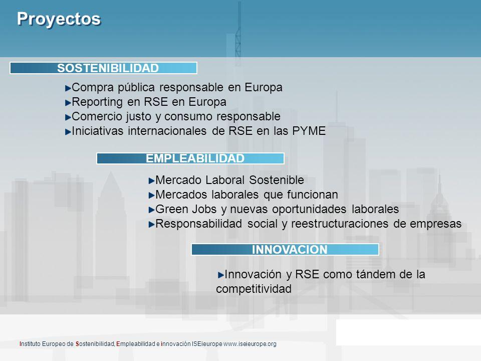 Proyectos Instituto Europeo de Sostenibilidad, Empleabilidad e innovación ISEieurope www.iseieurope.org SOSTENIBILIDAD EMPLEABILIDAD INNOVACION Compra
