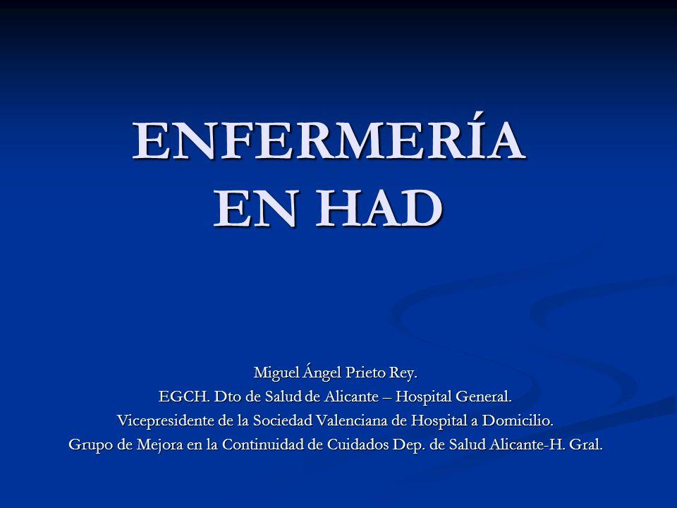 ENFERMERÍA EN HAD Miguel Ángel Prieto Rey. EGCH. Dto de Salud de Alicante – Hospital General. Vicepresidente de la Sociedad Valenciana de Hospital a D