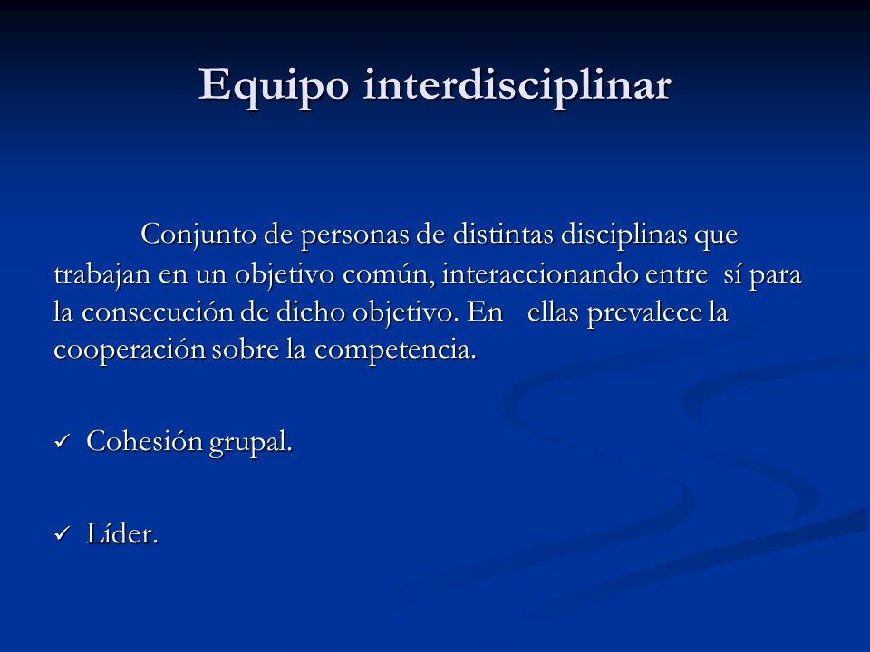 Equipo interdisciplinar Conjunto de personas de distintas disciplinas que trabajan en un objetivo común, interaccionando entre sí para la consecución