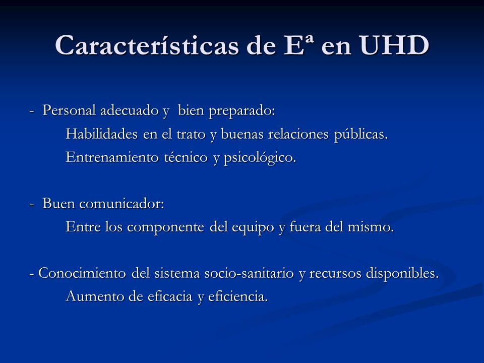 Características de Eª en UHD - Personal adecuado y bien preparado: Habilidades en el trato y buenas relaciones públicas. Habilidades en el trato y bue