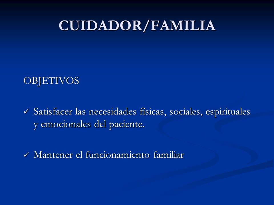 CUIDADOR/FAMILIA OBJETIVOS Satisfacer las necesidades físicas, sociales, espirituales y emocionales del paciente. Satisfacer las necesidades físicas,