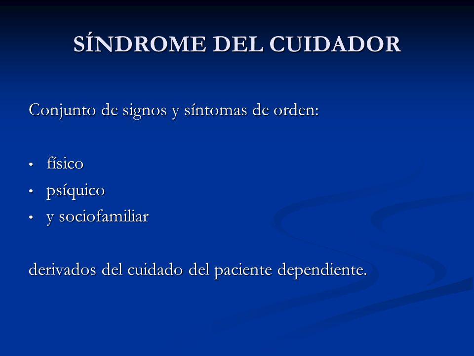 SÍNDROME DEL CUIDADOR Conjunto de signos y síntomas de orden: físico físico psíquico psíquico y sociofamiliar y sociofamiliar derivados del cuidado de