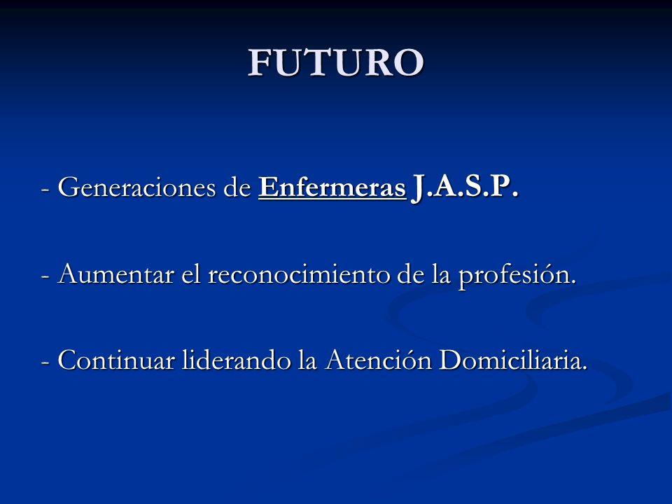 FUTURO - Generaciones de Enfermeras J.A.S.P. - Aumentar el reconocimiento de la profesión. - Continuar liderando la Atención Domiciliaria.