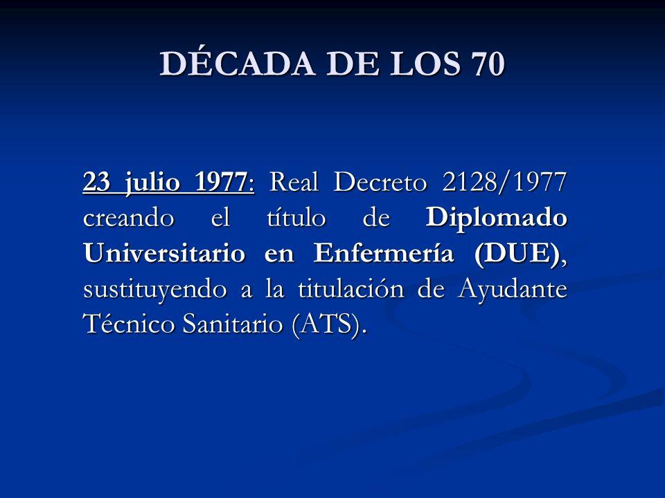 DÉCADA DE LOS 70 23 julio 1977: Real Decreto 2128/1977 creando el título de Diplomado Universitario en Enfermería (DUE), sustituyendo a la titulación