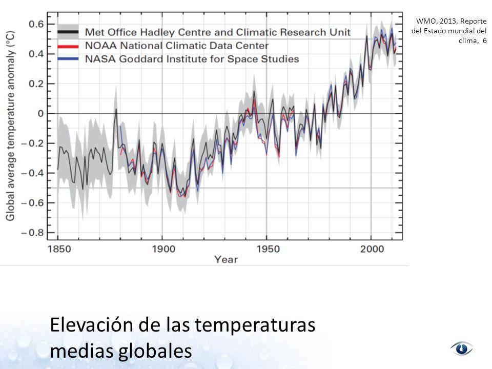 WMO, 2013, Reporte del Estado mundial del clima, 6 Elevación de las temperaturas medias globales