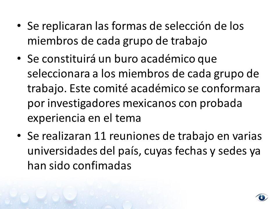 Se replicaran las formas de selección de los miembros de cada grupo de trabajo Se constituirá un buro académico que seleccionara a los miembros de cada grupo de trabajo.