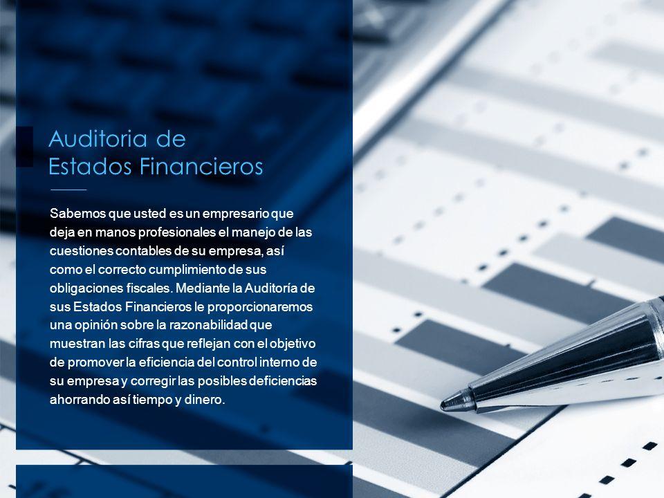 Auditoria de Estados Financieros Sabemos que usted es un empresario que deja en manos profesionales el manejo de las cuestiones contables de su empres