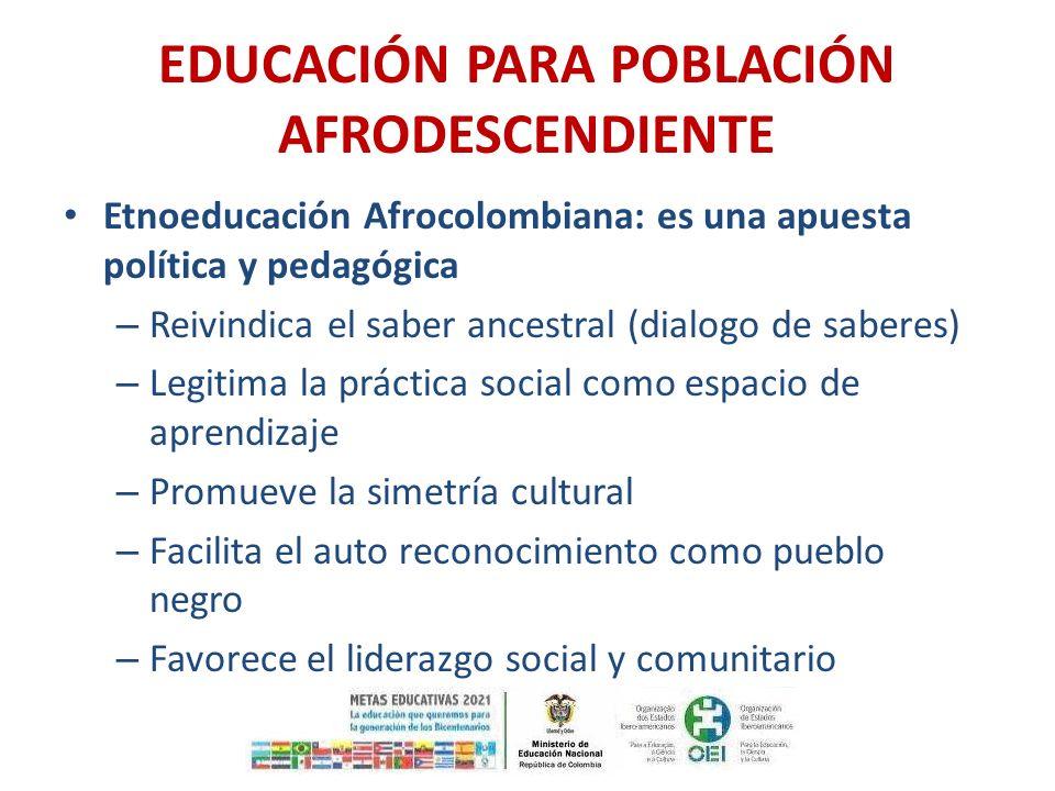 EDUCACIÓN PARA POBLACIÓN AFRODESCENDIENTE Etnoeducación Afrocolombiana: es una apuesta política y pedagógica – Reivindica el saber ancestral (dialogo