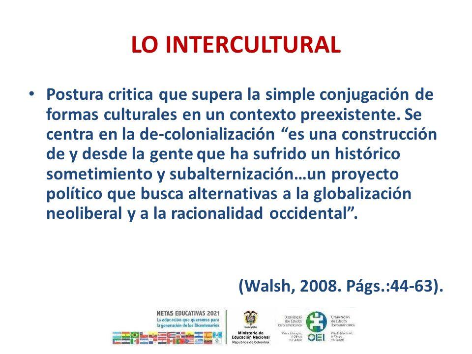 LO INTERCULTURAL Postura critica que supera la simple conjugación de formas culturales en un contexto preexistente. Se centra en la de-colonialización