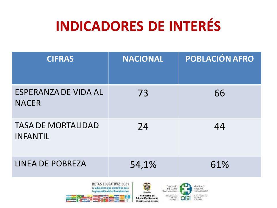 CIFRASNACIONALPOBLACIÓN AFRO ESPERANZA DE VIDA AL NACER 7366 TASA DE MORTALIDAD INFANTIL 2444 LINEA DE POBREZA 54,1%61% INDICADORES DE INTERÉS