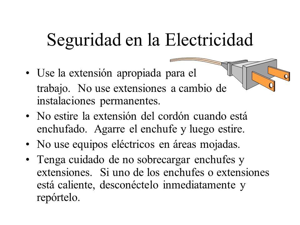 Seguridad en la Electricidad Use la extensión apropiada para el trabajo. No use extensiones a cambio de instalaciones permanentes. No estire la extens