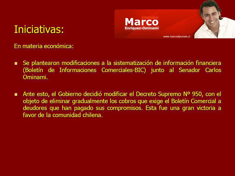 Iniciativas: En materia económica: Se plantearon modificaciones a la sistematización de información financiera (Boletín de Informaciones Comerciales-BIC) junto al Senador Carlos Ominami.
