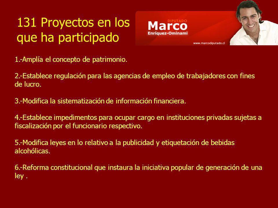 131 Proyectos en los que ha participado 1.-Amplía el concepto de patrimonio. 2.-Establece regulación para las agencias de empleo de trabajadores con f