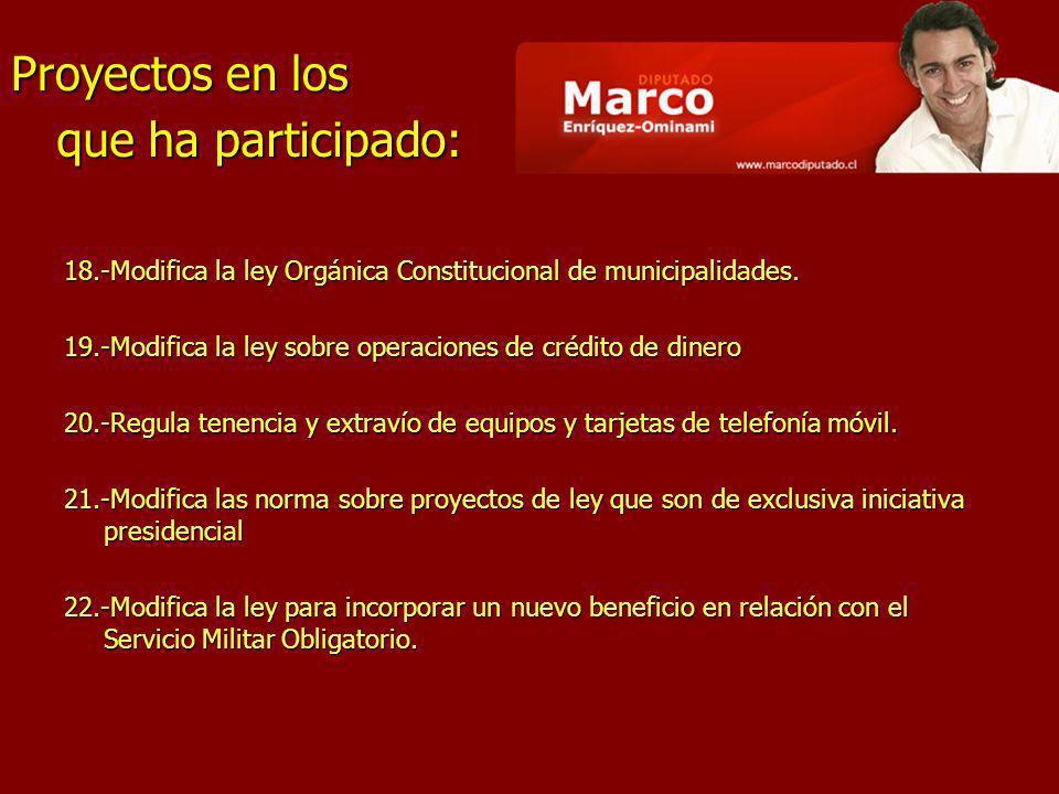 18.-Modifica la ley Orgánica Constitucional de municipalidades. 19.-Modifica la ley sobre operaciones de crédito de dinero 20.-Regula tenencia y extra