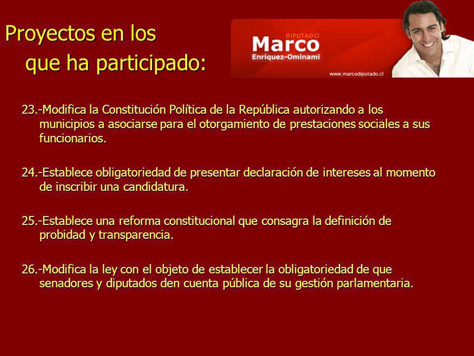 23.-Modifica la Constitución Política de la República autorizando a los municipios a asociarse para el otorgamiento de prestaciones sociales a sus fun