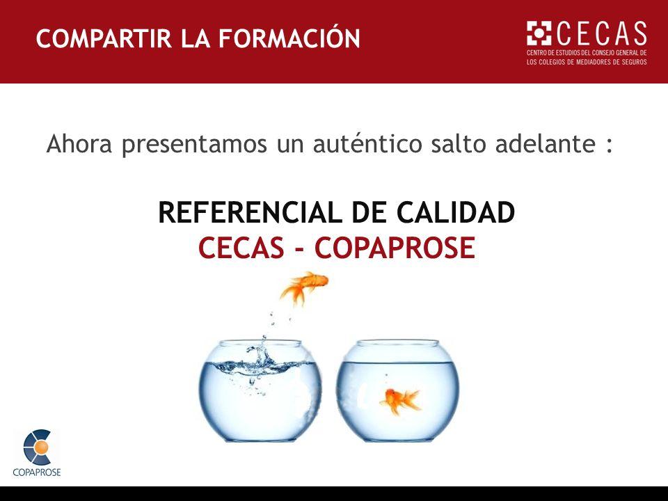 Ahora presentamos un auténtico salto adelante : REFERENCIAL DE CALIDAD CECAS - COPAPROSE COMPARTIR LA FORMACIÓN