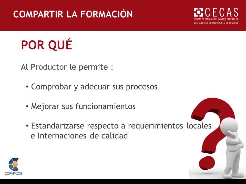POR QUÉ Al Productor le permite : Comprobar y adecuar sus procesos Mejorar sus funcionamientos Estandarizarse respecto a requerimientos locales e Internaciones de calidad COMPARTIR LA FORMACIÓN