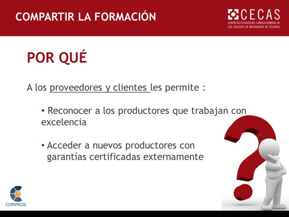 POR QUÉ A los proveedores y clientes les permite : Reconocer a los productores que trabajan con excelencia Acceder a nuevos productores con garantías certificadas externamente COMPARTIR LA FORMACIÓN