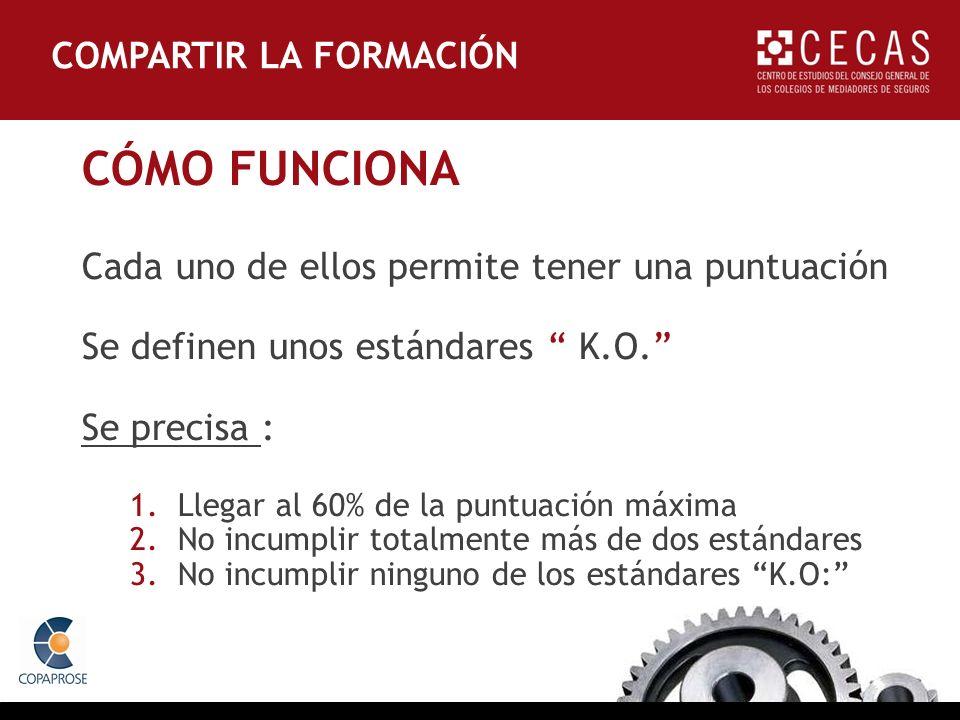 CÓMO FUNCIONA Cada uno de ellos permite tener una puntuación Se definen unos estándares K.O.