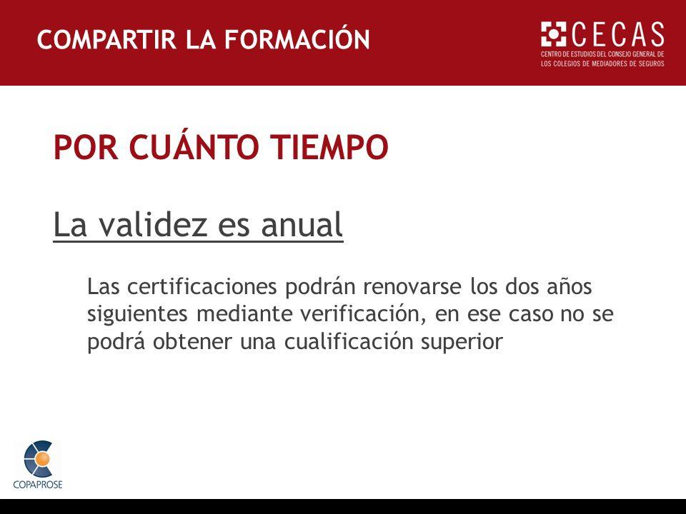 POR CUÁNTO TIEMPO La validez es anual Las certificaciones podrán renovarse los dos años siguientes mediante verificación, en ese caso no se podrá obtener una cualificación superior COMPARTIR LA FORMACIÓN