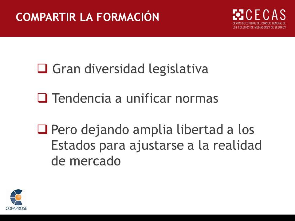 COMPARTIR LA FORMACIÓN Gran diversidad legislativa Tendencia a unificar normas Pero dejando amplia libertad a los Estados para ajustarse a la realidad