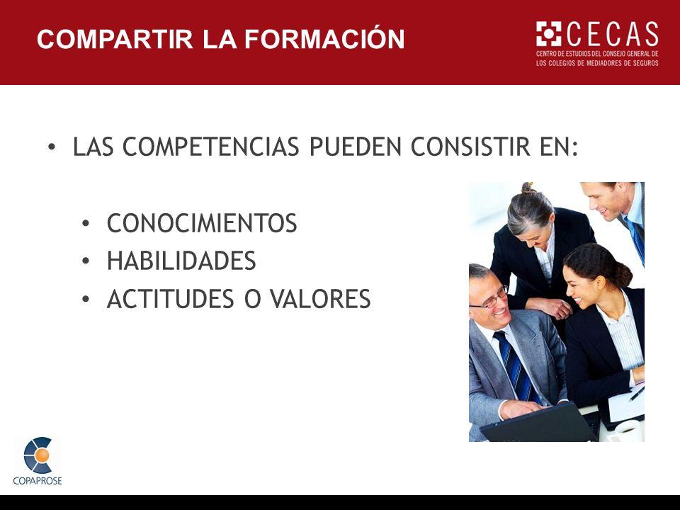 LAS COMPETENCIAS PUEDEN CONSISTIR EN: CONOCIMIENTOS HABILIDADES ACTITUDES O VALORES