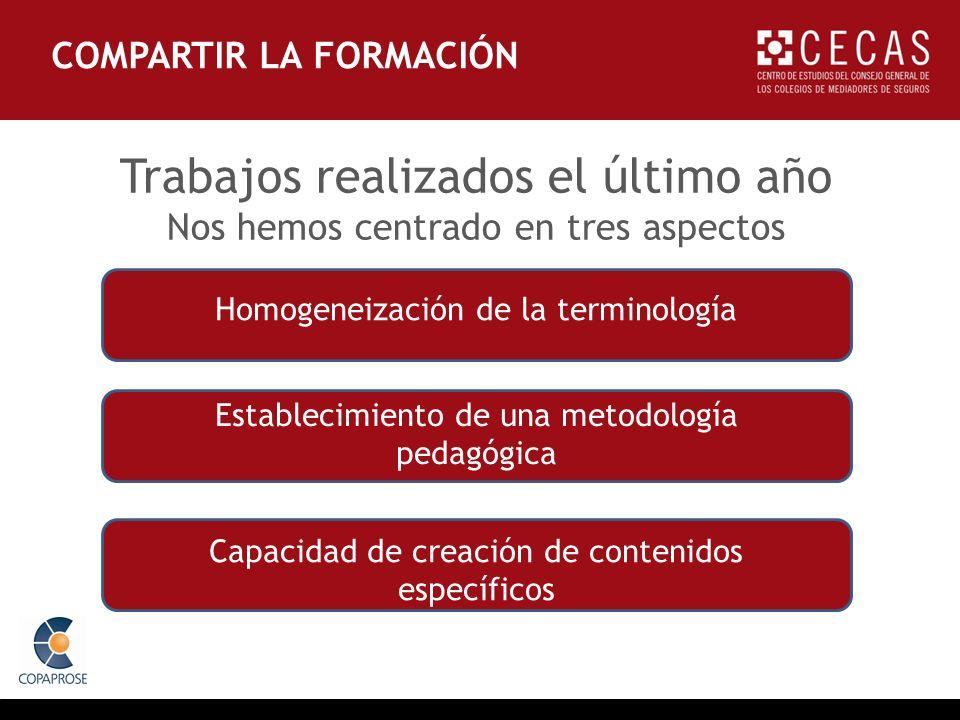 Homogeneización de la terminología Establecimiento de una metodología pedagógica Capacidad de creación de contenidos específicos Trabajos realizados el último año Nos hemos centrado en tres aspectos