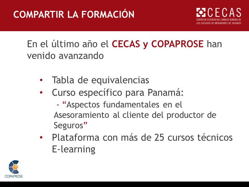 En el último año el CECAS y COPAPROSE han venido avanzando Tabla de equivalencias Curso específico para Panamá: - Aspectos fundamentales en el Asesora