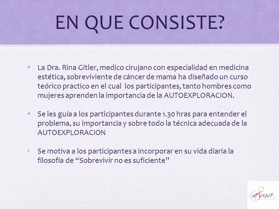 EN QUE CONSISTE? La Dra. Rina Gitler, medico cirujano con especialidad en medicina estética, sobreviviente de cáncer de mama ha diseñado un curso teór